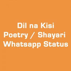 Dil Na Kisi Sy Lagana Poetry / Shayari / Whatsapp Status in Urdu