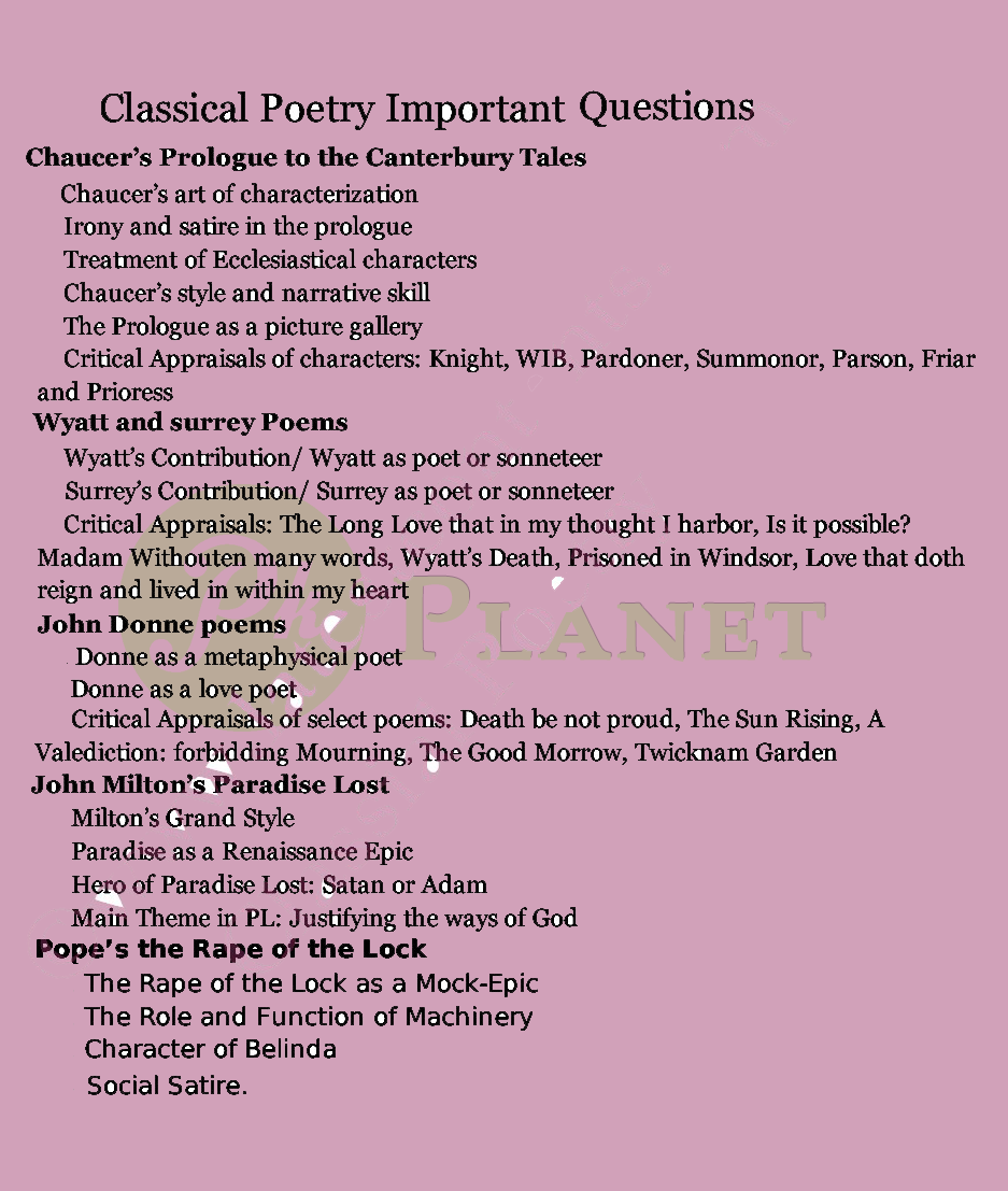 Important Questions of Classical Poetry for MA English