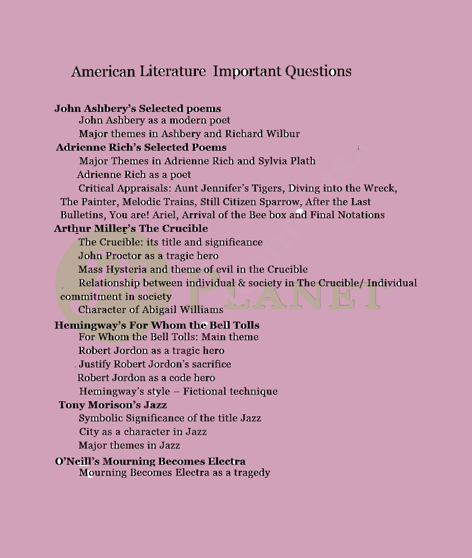 MA English American Literature Important Questions