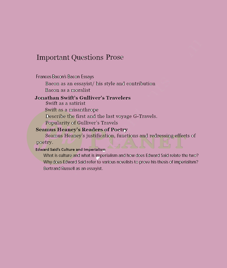 MA English Literature Important Questions for Prose