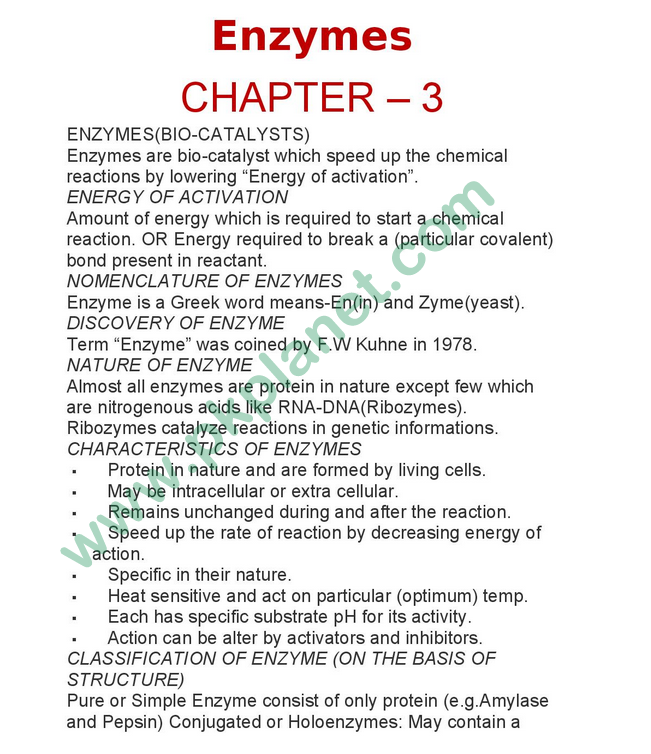 1st-Year-Biology-Easy-Notes-Chapter-#-3-(Enzymes)