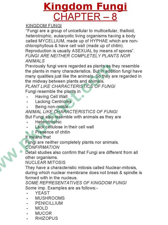 1st Year Biology Notes Chapter # 8 (Kingdom Fungi)