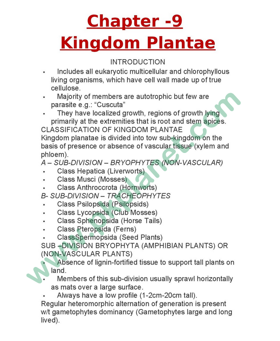 1st Year Biology Notes Chapter # 9 (Kingdom Plantae)