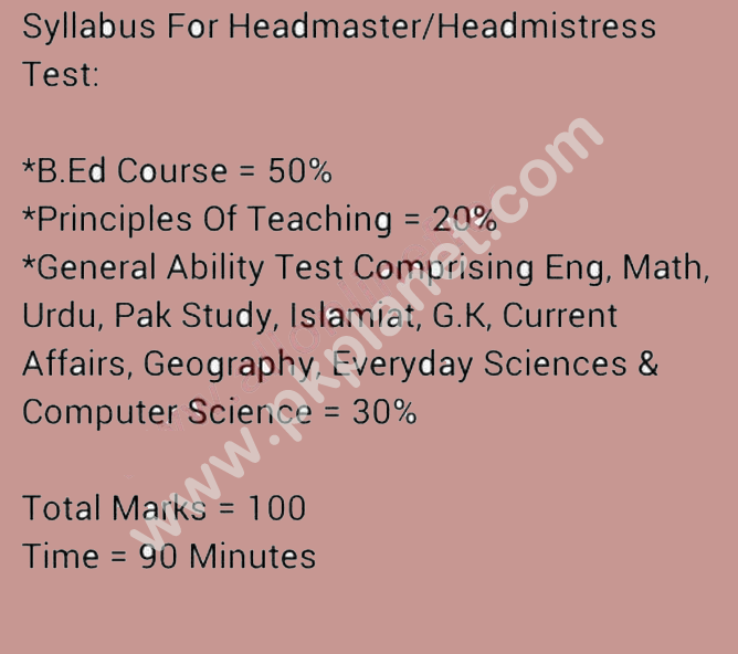 PPSC Headmaster Headmistress New Syllabus & Paper Pattern 2017