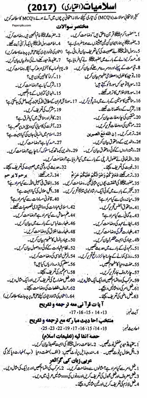 Islamiat Elective/iKhtiari Guess Paper for 10th Class 2018